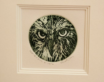 Owl Engraving Perfect Gift, Fine Art by Greg Shafley, Ready to Hang, Watchful Eyes