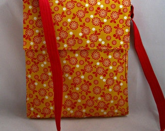 Hippie Floral Messenger Bag, Crossbody Bag, Yellow, Red, and White Cross Body, Flower Power Girls Messenger Bag