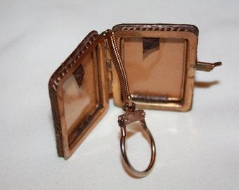 Antique Locket, Victorian Snakeskin Locket, Rose Gold Italy  Key chain, Vintage Hair Locket 1900s Jewelry