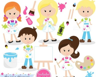 80% OFF - INSTANT DOWNLOAD,  painting clipart - teacher supply clip art - school graphic - invitation image - commercial use - art class