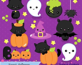 INSTANT DOWNLOAD - Kawaii Halloween Clipart and Vectors for personal and commercial use