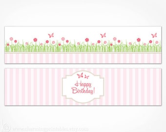 Butterfly Water Bottle Labels Pink Birthday Garden Party Decorations - Printable Instant Download - Flower Spring Girl Birthday