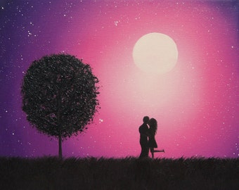 Silhouette Couple in Love Art Print, Photo Print of Kissing Couple, Lovers, Annivesary Gift, Romantic Gift, Purple Night Sky, Passionate Art