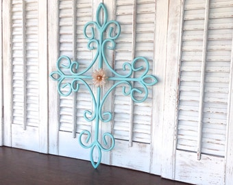 Aqua Blue Iron Wall Cross - French Country Cottage Chic Wall Decor - Christian Wall Hanging