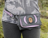 SALE SALE SALE !!!   was 170 now 110  Black and Purple Leather Pocket Belt with Crystal Eyez Pine Cone Pendant with Malachite