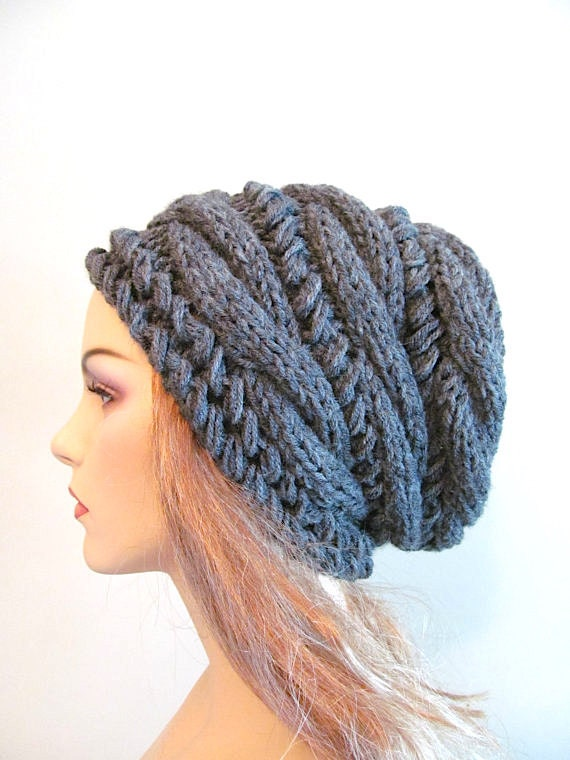Slouchy Beanie Slouch Hats Oversized Baggy cabled hat  womens accessory Charcoal Grey Hand Made Knit