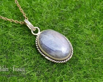 Labradorite Silver Plated Pendant With Free Necklace- wow- wedding- bridal- fantasy- cosplay- gemstone- rainbow