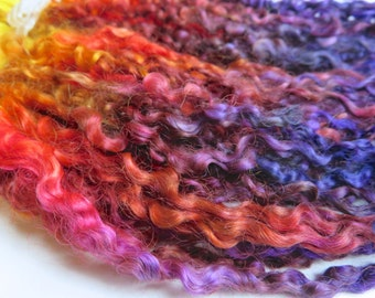 Teeswater Locks, Extra Long, Dyed, Tailspinning, Extreme, Doll Hair, Spin, Felt, Fleece, Harbor Sunset