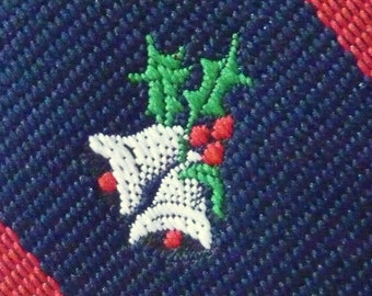 """Vintage """"JINGLE BELLS"""" on Navy Blue & Red Regimental Repp Striped Christmas Holiday Trad / Ivy League Emblematic Club Neck Tie."""