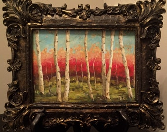 BRIGHT BIRCHES a FRAMED Original Oil Painting by Artist Beth Capogrossi, Tree Painting Aspen Trees
