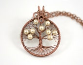 Personalized Tree-Of-Life Pendant with White Glass Pearls Copper Wire Wrapped Necklace Pearls Pendant