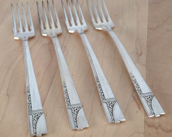 """Oneida  """"Caprice""""  Four (4) Dinner Forks 7 5/8"""" inches, Silverplate, 1937 Nobility Plate, Discontinued"""