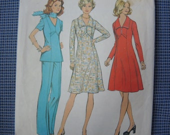 vintage 1970s simplicity sewing pattern 6557 misses dress or top and pants size 14