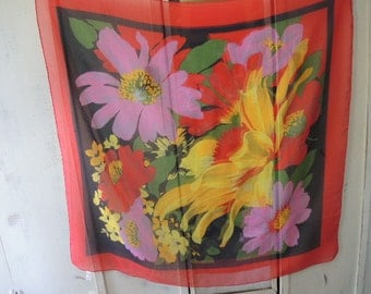 Vintage 1980s NOS sheer scarf 100% polyester extra large tropical floral flowers 34 x 35 inches