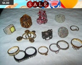 SALE 60% Off Vintage Statement Rings, fun lot of rings, vintage rings, destash rings lot A2