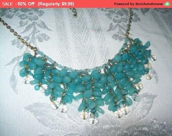 SALE Dangling bead necklace, blue bead statement necklace, bib necklace, hippie, boho
