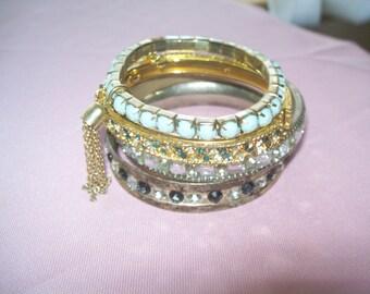 bracelet lot, rhinestone bracelet, vintage bracelets, stacking bracelets, bangle bracelets, destash