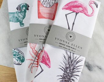 Set of 3 Animal Print tea Towels