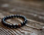 Men's Black Onyx Beaded Boho Bracelet Black Matte Onyx Stretch Bracelet Unisex Bracelet