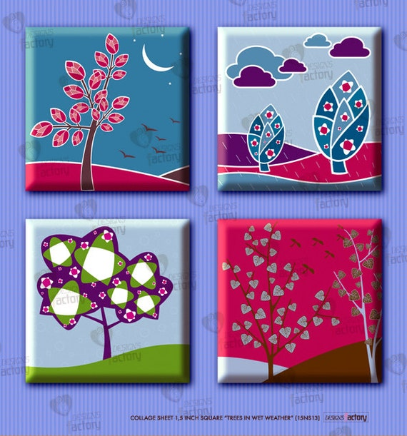 "Collage sheet 1,5 inch square ""Trees in Wet Weather"" (15NS13) 30 images of difference and original trees for diverse applications"