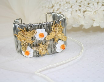 Daffodil and Bee Cuff Bracelet One of a Kind Cuff Bracelet Unique Floral Cuff Bracelet