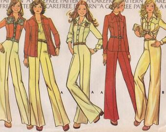 """FF  McCalls 4110 -70s Woman's Suit Vintage Sewing Pattern - Retro Western Shirt Jacket Blouse Pants, Size 12, Bust 34"""", UNCUT"""