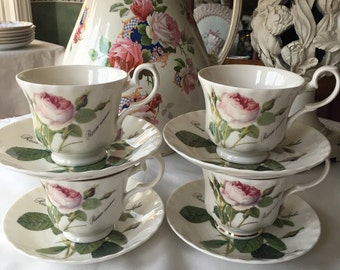 Set of 4 Teacup and Saucer Sets Roy Kirkham Redoute Roses made in England Fine Bone China