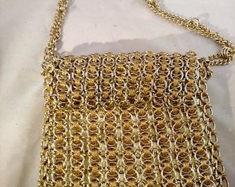 Walborg Gold Purse, Chainmail and Ribbon, Made in Hong Kong