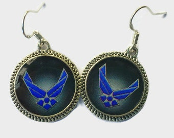 Navy  Earrings Jewelry Emblem Silver Silver Bronze Picture Round