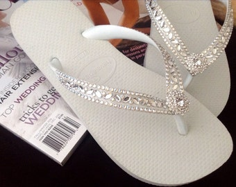Wedding Flip Flops Glass Slippers Blushing Bride Rocks w/ Swarovski Crystal Rhinestone Bead Beach Bling Havaianas or Cariris Wedge Heel Shoe