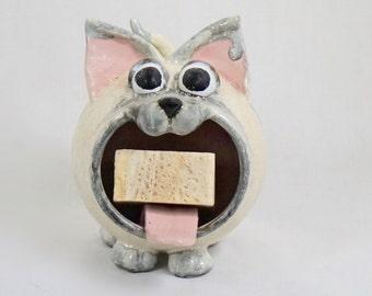 Handmade Siamese Cat Ceramic Soap Holder, Pottery Sponge Holder,  Hand Thrown Stoneware, Kitchen Bath Decor, Cat Decor, Pottery Soap Holder