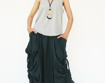 NO.123 Deep Teal Cotton Jersey Mega Pocket Maxi Skirt
