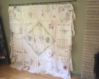 Marion's vintage linen quilt