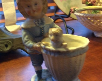 Vintage bisque figurine*toothpick holder *boy with cat