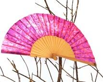 Silk hand fan handpainted purple and orange. gift wedding- bridesmaid. personalized gift. spanish hand fan. birthday gift. summer