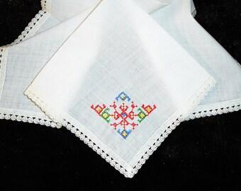 Ladies Hankie, Handkerchief, Embroidered Hankie, Ladies Accessories, Mothers Day, Southwestern Motif, 1960s Hankie,