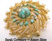 "Vintage Sarah Coventry Brooch ""AZURE SKIES"" Early 1970s Faux Turqoise and Gold Fluss"