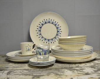 Stetson Marcrest Swiss Chalet Alpine Dinnerware ~ 24 piece set ~ Turquoise ~ Mid Century Dinnerware ~ Epsteam