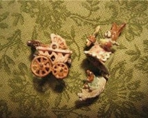 SET Mechanical RABBITs Tiny Double Mechanical Mother w hiding Bunny plus pink pram twins- antique style Jill Dianne Dollhouse Miniature Toy