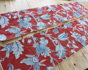 """3 available Handmade 53"""" by 13"""" valance curtains,Red, White and Blue abstract grapes, vines and foliage, hand made vintage valance"""