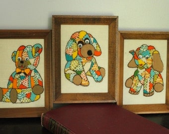 Puppy OR Teddy Bear OR Elephant google eyes hand Embroidered animal art in wood frame, Colorful CHILDREN'S room wall art, nursery decor