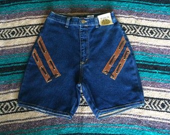 Vintage Watch L.A. Denim and Leather Jean Shorts
