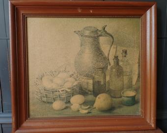 Vintage Primitive Framed Print, Fruit, Kitchen, Wood Frame, Oil Texture, Wall Home Decor
