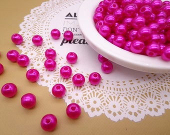 SALE--100pc 8mm Faux Pearl Beads,Rose Red Plastic Beads