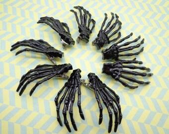 SALE--10 pcs black skeleton hand hair clips