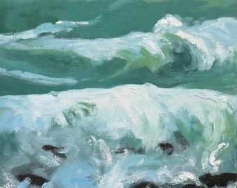 "Tropical Surf oil painting, 12""X12"" , waves aqua blue art  by Maine artist Adrienne Kernan LaVallee Art & Collectibles"