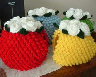 Tea Cozy- Tea Pot cover- Rose topped Tea Cozy- Flowered Tea Cozy