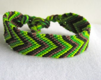 SALE!!!!! Friendship Bracelet - Chevron- Camouflage - Green, Black