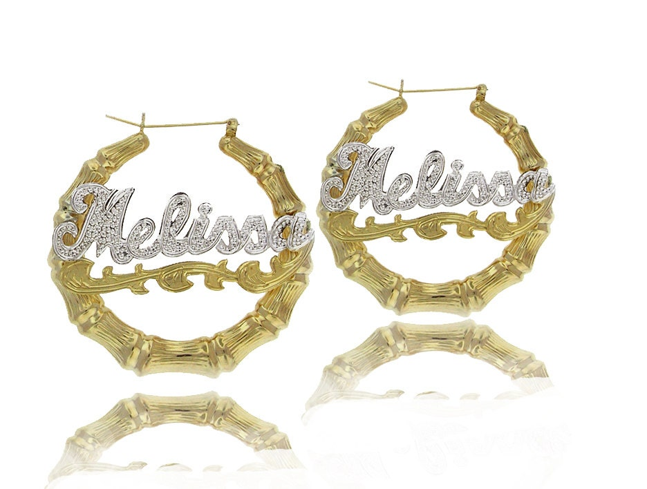 large bamboo hoop earrings with your name in yellow white
