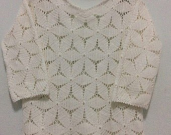 Made to order , Crochet wearable , Crochet blouse , Spring, Women Top /  No.CB-070